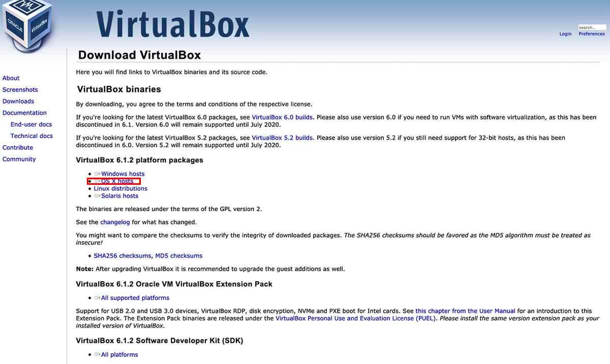 VirtualBoxのダウンロード場所